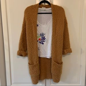 Debut fuzzy boucle open cardigan sweater duster